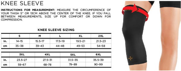 Mens Tommy Copper Knee Sleeve Size Chart
