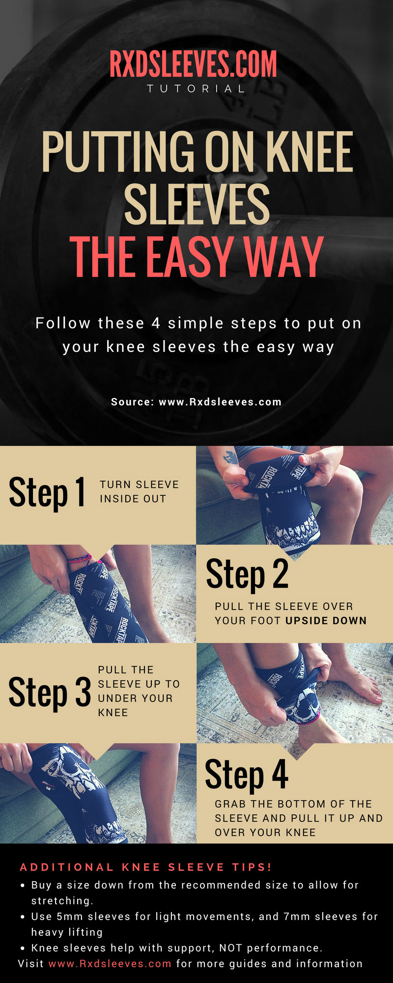 Putting on knee sleeves the easy way infographic