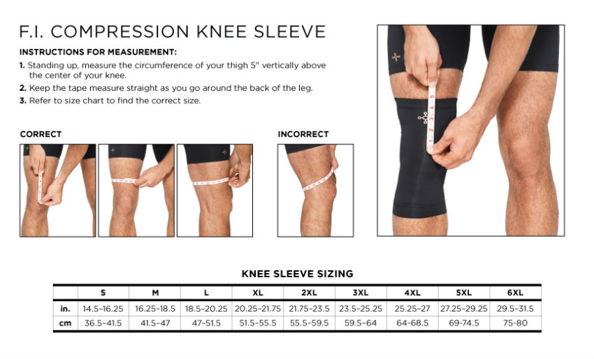 Tommie Copper Mens Knee Sleeve Size Chart